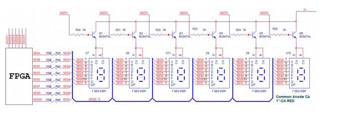 Schematics to interface Seven segment with Virtex5 FPGA Development Kit
