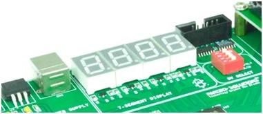 Schematics to interface Seven segment with Spartan3 FPGA Development Kit