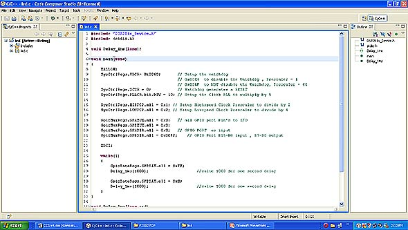 type-program-in-code-composer-studio