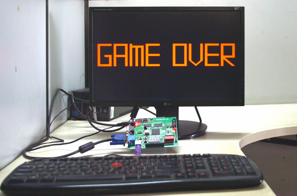 3) VGA output of the Ping Pong game
