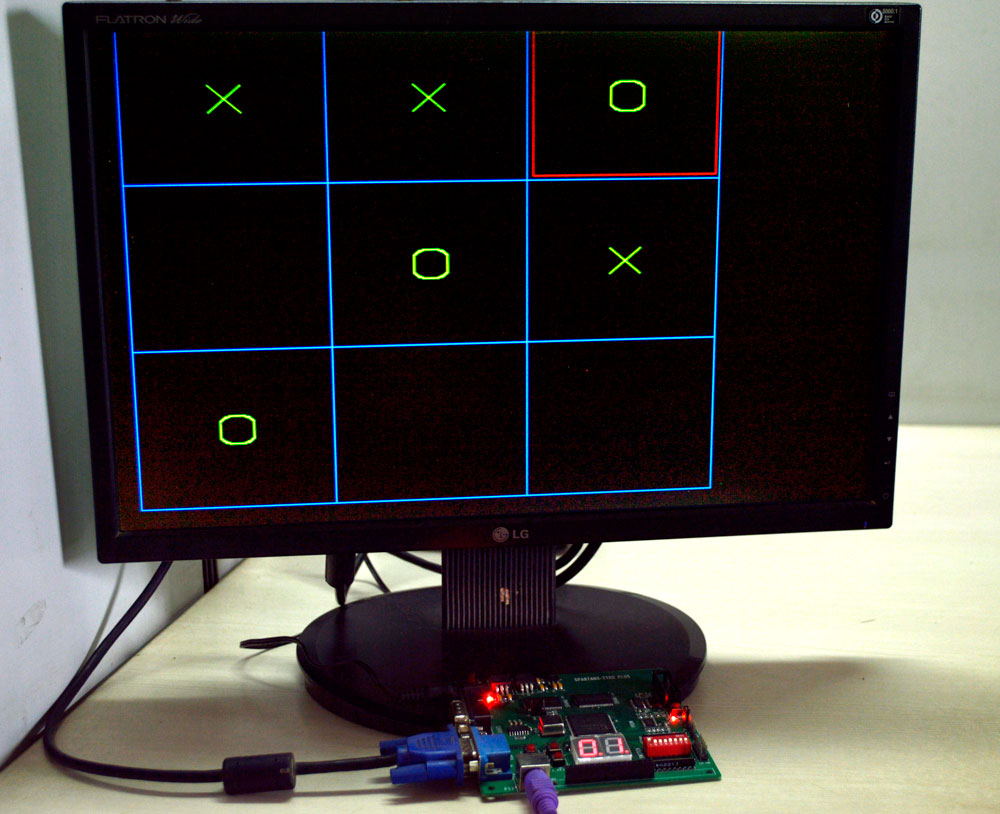 3) VGA output of the TIC TAC TOE game