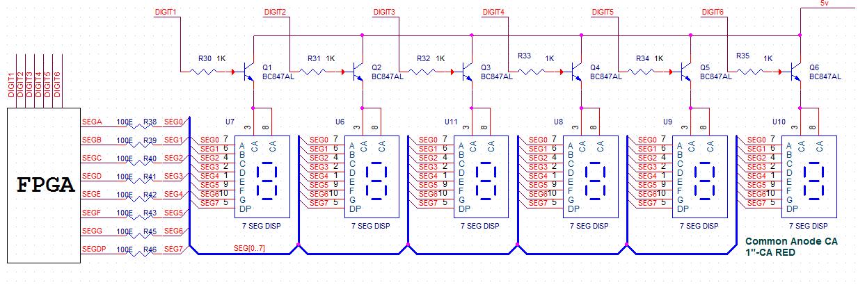 Schematics to interface Seven segment with Spartan3e FPGA Development Kit