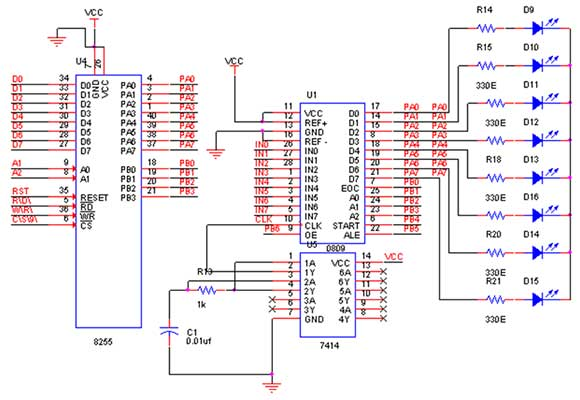 how to interface adc 0809 with 8086 lab trainer kit rh pantechsolutions net 8086 Microprocessor Pin Grid Array circuit diagram of traffic light controller using 8086 microprocessor