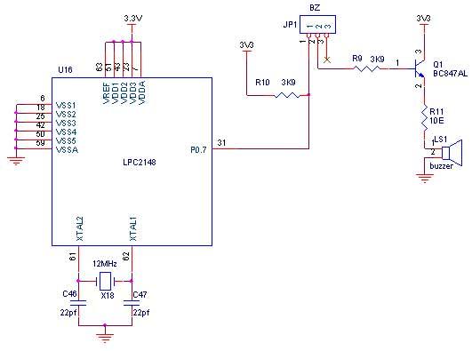Circuit Diagram to Interface Buzzer with LPC2148