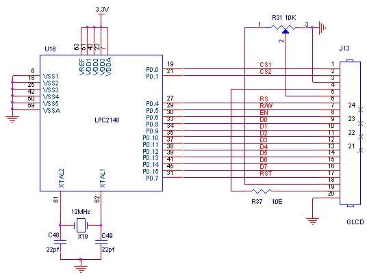 Circuit Diagram to Interface GLCD with LPC2148 - ARM7 Advanced Development