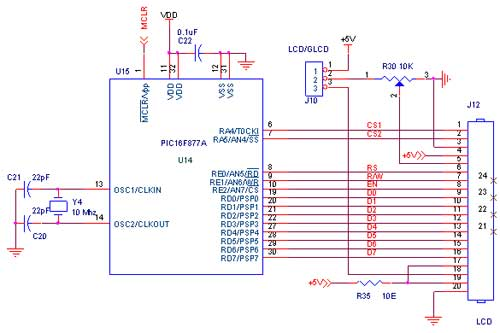 How to interface lcd with pic16f877a pic development board circuit diagram to interface lcd with pic16f877a ccuart Gallery