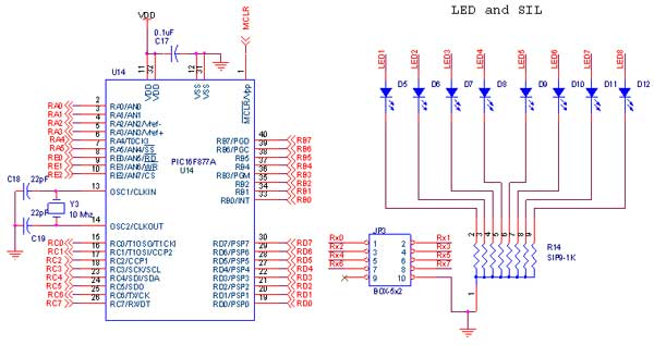 circuit diagram to interface led with pic16f877a