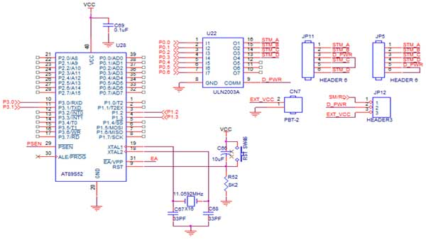Circuit Diagram to Interface Stepper Motor with 8051