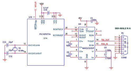 How to interface uart with pic16f877a pic advanced development board circuit diagram to interface uart with pic16f877a ccuart Gallery