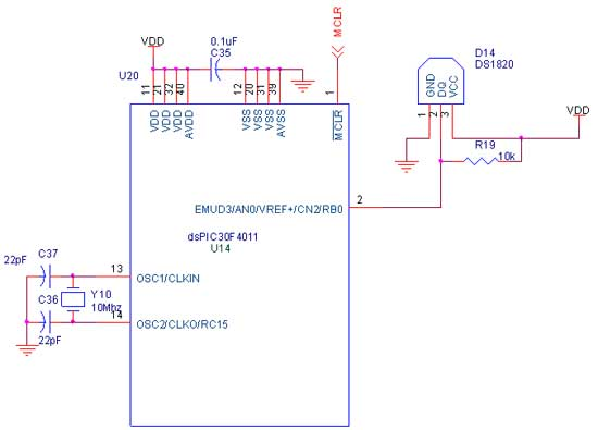 Circuit Diagram to Interface ds1820 with dsPIC30F4011