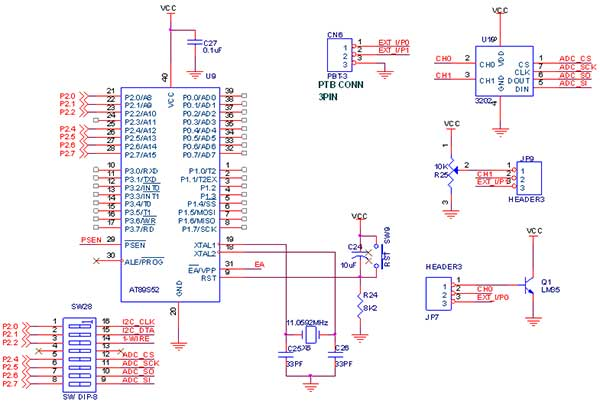 Circuit Diagram to SPI ADC with 8051