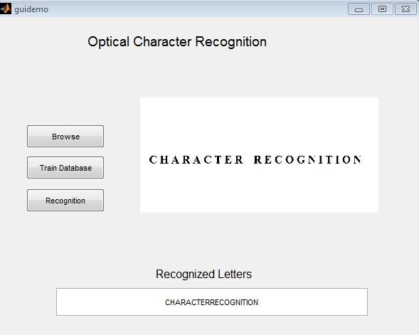 Matlab code for Optical Character recognition