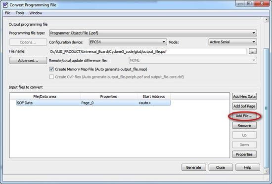 Generation of PROM File for Altera FPGA Universal Development Board