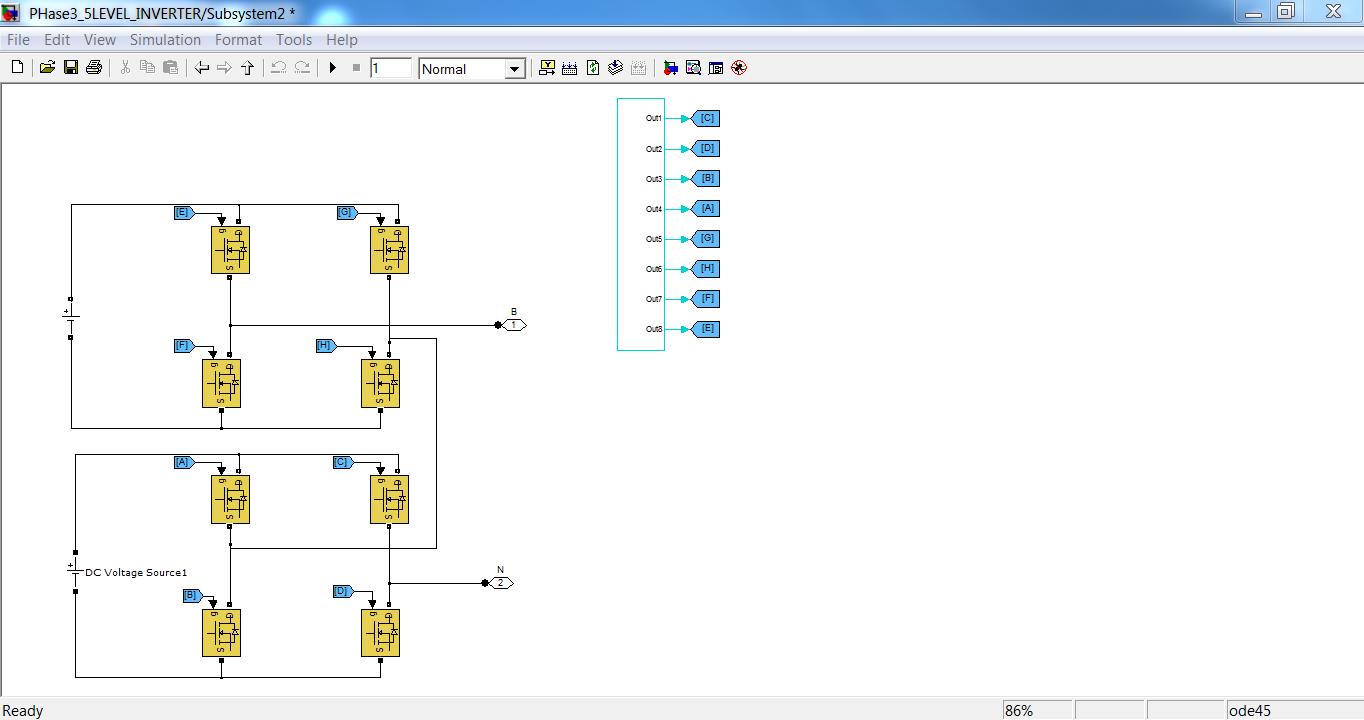 B-phase Subsystem of Three Phase Five Level Inverter