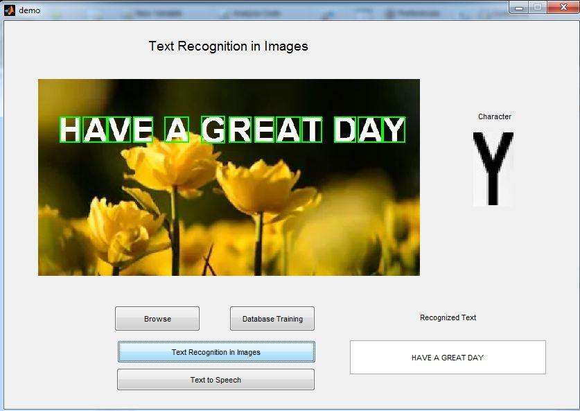 Text recognition in images and converting recognized text to speech -Image processing project