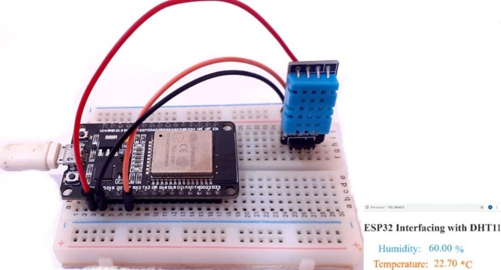 ESP32 Based Webserver for Temperature and Humidity Measurement using DHT11 Sensor -ESP32 Mini Projects