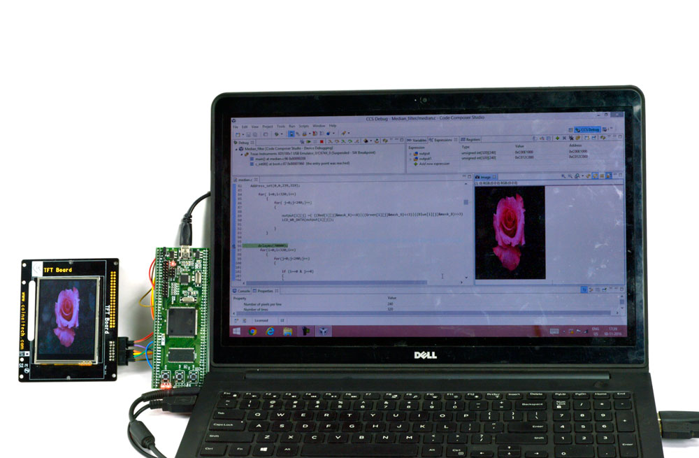 Median Filter Project Using TMS320C6745 DSP KIT