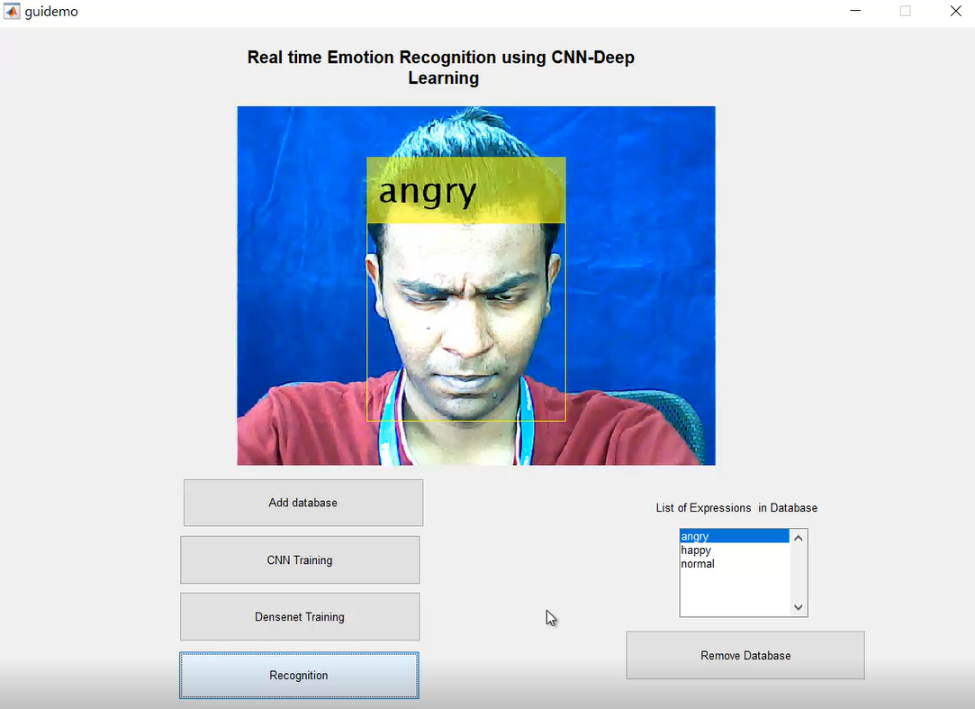 Real time face emotion recognition  using deep learning- Matlab